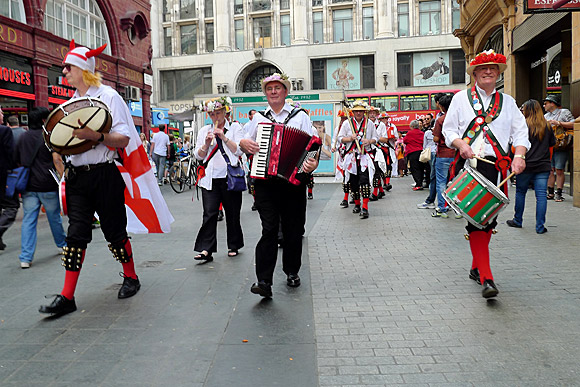 Morris Dancers at Oxford Circus on St George's Day