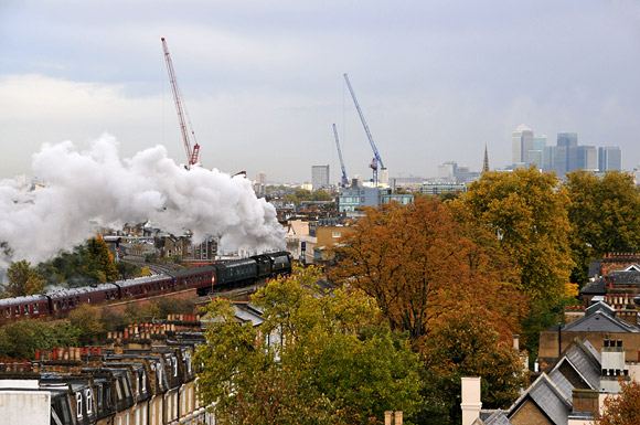Brixton rattles to the sound of a Battle Of Britain class steam locomotive