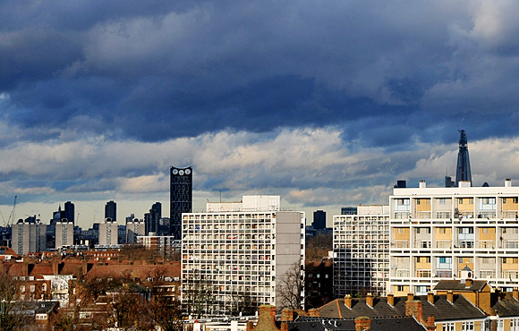 The Shard and stormy skies over London, as seen from Brixton