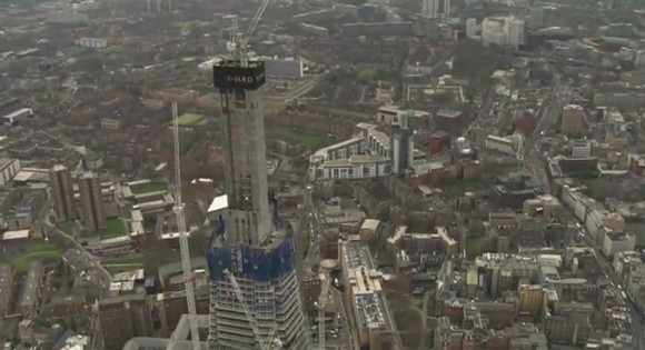 Aerial video footage: see The London Shard grow!