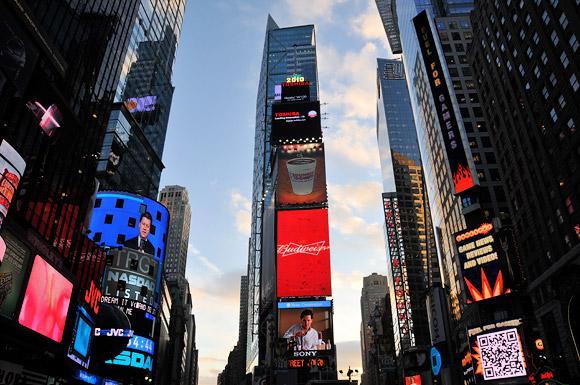 A twilight walk through Times Square, Manhattan, New York, NYC