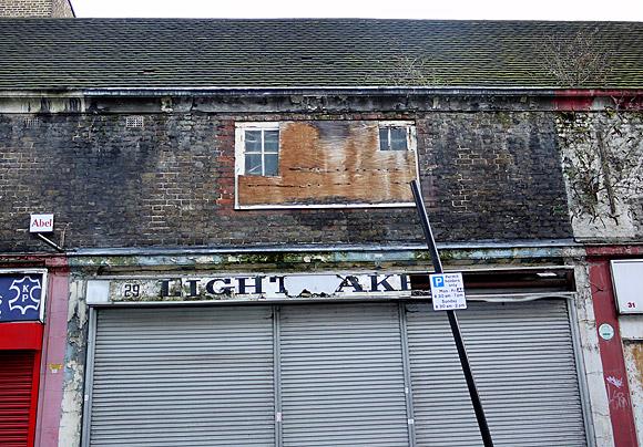 Derelict shops, Toynbee Street, Spitalfields, London E1