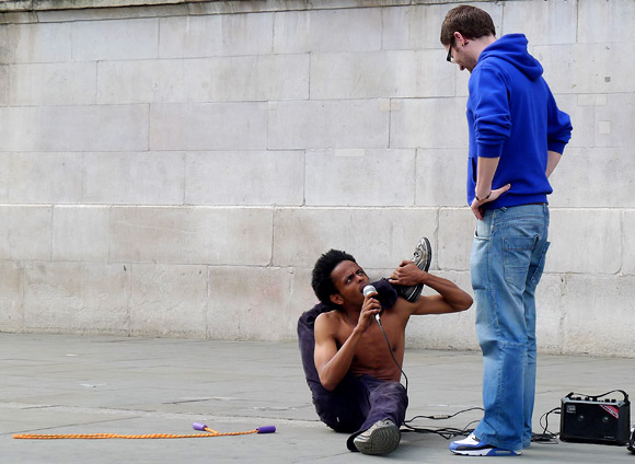 The plinth, the artist and contortionist, Trafalgar Square, May 2011