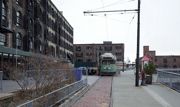 The abandoned trolley cars of Red Hook, New York are removed from the waterfront