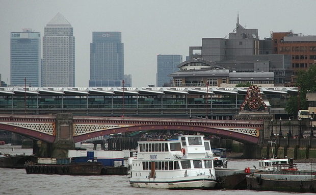 A short walk from Vauxhall tube station across the Thames to Blackfriars Bridge, London, summer 2014