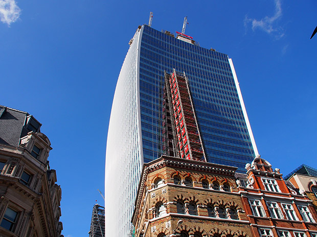 Walkie Talkie tower at 20 Fenchurch Street, City of London nears completion, and set to feature Europe's highest roof garden