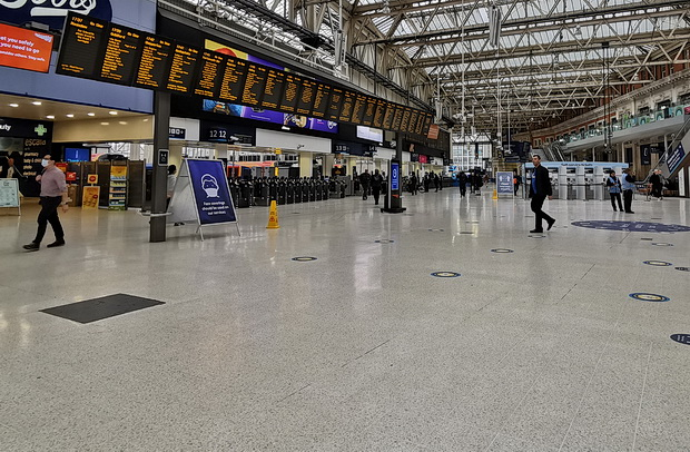 The eerie emptiness of Waterloo station in rush hour lockdown, 5.30pm, Thurs 4th June 2020