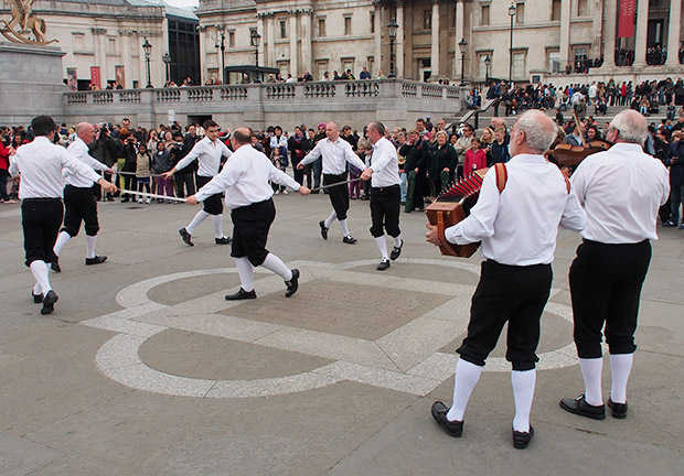 Morris Men take over Trafalgar Square for the Westminster Day of Dance 2013