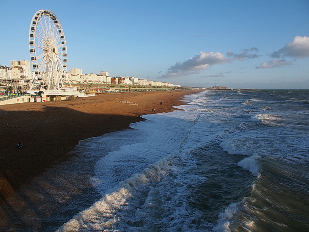 A wet and windy afternoon on Brighton's seafront, autumn 2015