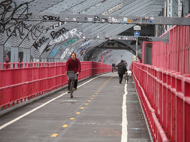 A walk across Williamsburg Bridge from Williamsburg, Brooklyn to Manhattan, new York