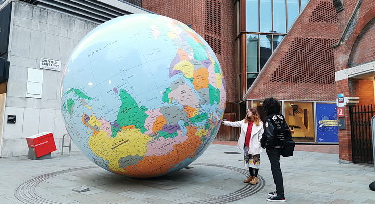The giant upside down globe in Holborn, London