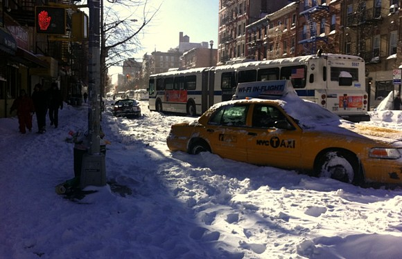 Avenue A freeze out as the snow brings the streets to a halt in New York
