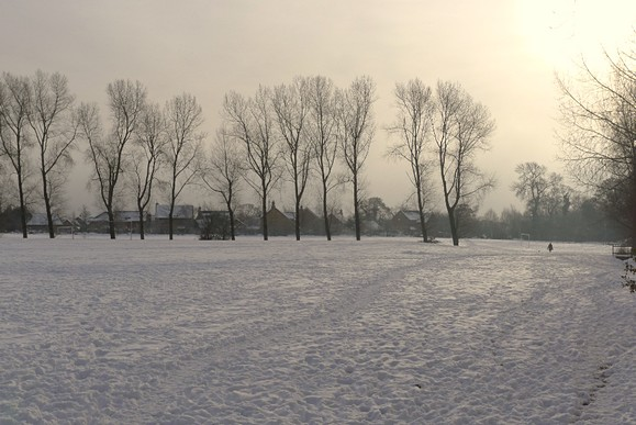 Winter scene in Cardiff, south Wales
