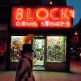 Night scene at Block drug stores, 101 2nd Ave (between 5th St & 6th St) in the East Village, New York. [More New York photos]