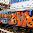 Seen earlier today at Farringdon station, central London, was this heavily graffiti'd train carriage on a northbound train. Only the last carriage had been painted. Scroll down for more.