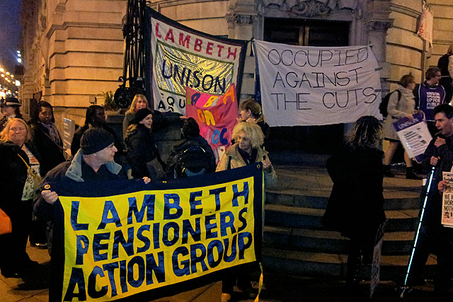 Against the Cuts! Protest outside Lambeth Town Hall