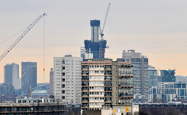 St George Wharf Tower - the UK's tallest residential building - rises in Vauxhall