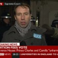 Protester slaps 'fuck' sticker on BBC reporter making live TV broadcast. Lots of photos from the protest here and check out the urban75 discussion thread.