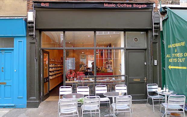 Hanging out at Brill Music, Coffee & Bagels in Exmouth Market, London EC1
