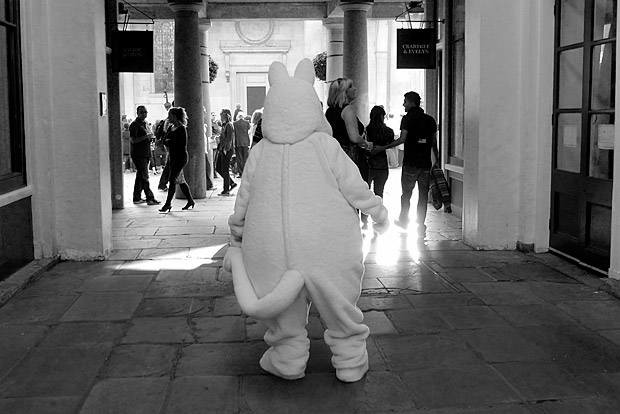 Covent Garden, the white cuddly bear and the wooden people