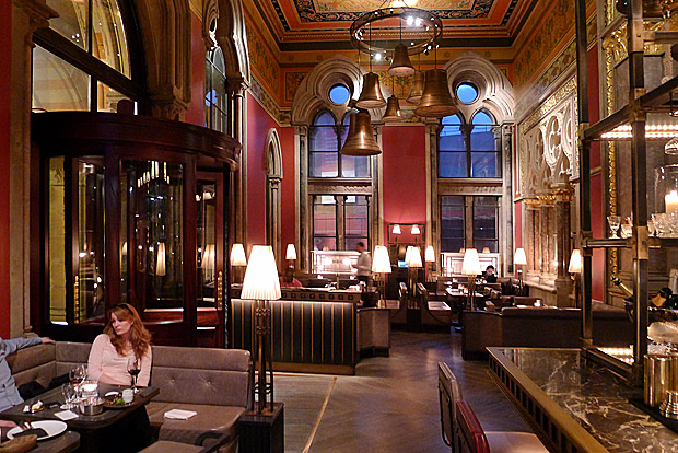 Cocktails in the Gothic splendour of The Gilbert Scott bar, Midland Hotel, St Pancras