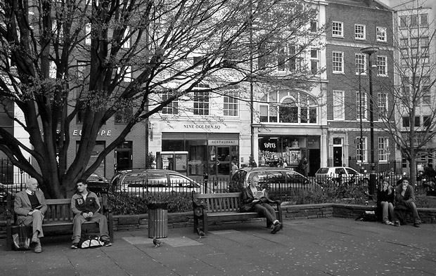 Saturday lunchtime at Golden Square, Soho, London