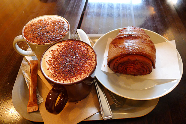 Cinnamon buns to die for at the Nordic Bakery, Golden Square, Soho, London