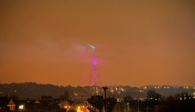 Crystal Palace tower commemorates switch from analogue to digital TV with damp squib display
