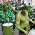 Hastings Jack In The Green Procession 2012: marching green men, morris dancers and drummers galore