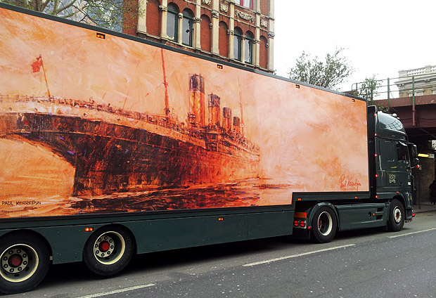 Painting of The Titanic on a flower lorry, Brixton