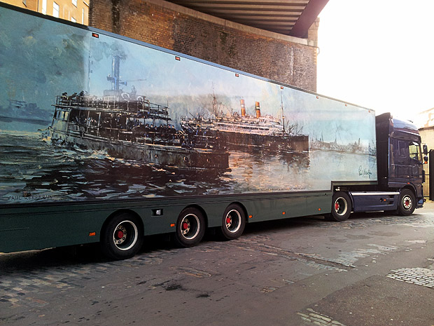 Painting of a big ship on a flower lorry, Brixton