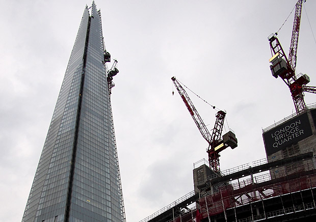The Shard and London Bridge Quarter in the April gloom