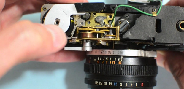 Gaze at the beautiful interior workings of an Olympus 35RD