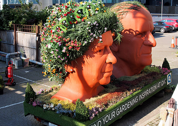 Weird pic of the day: The Queen and Prince Philip as giant plant pots