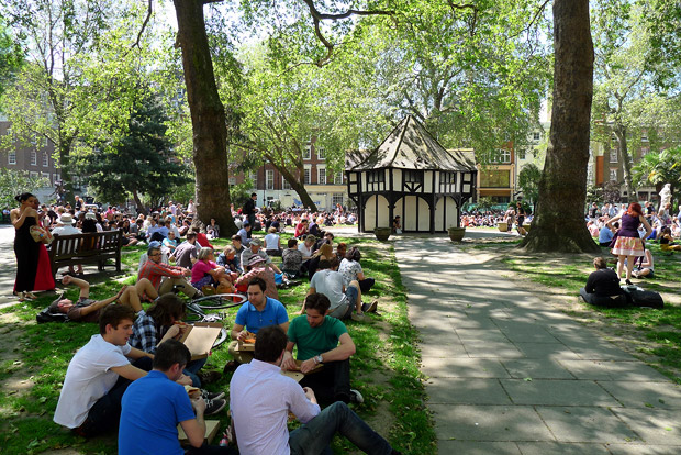 Soho Square swelters in the early summer sun