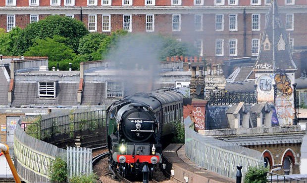 New steam locomotive Tornado shimmies through a sizzling Brixton