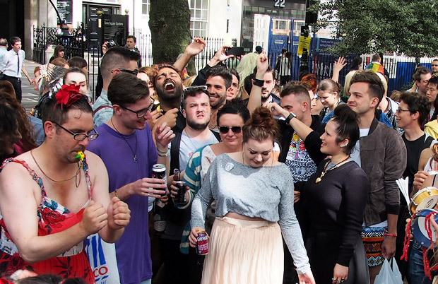Gay Pride party in Soho Square, Soho, central London