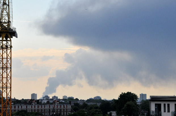 Huge fire in Bath Road in Hounslow - visible from Brixton