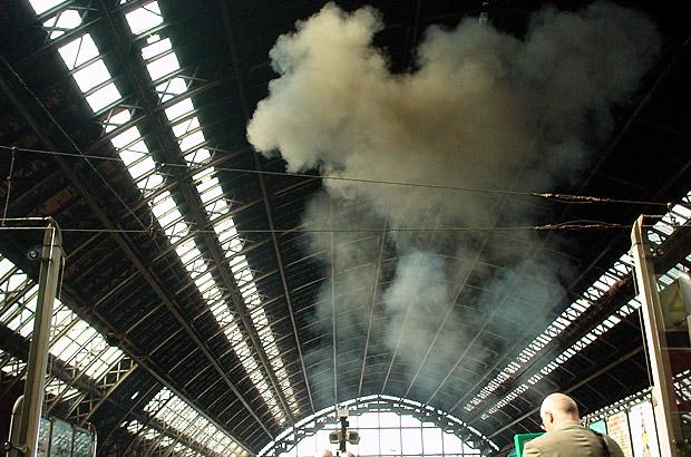 St Pancras station a decade ago: graffiti, smoke and wooden panelling