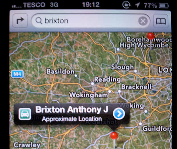 Here's where Brixton is according to Apple's new Maps app
