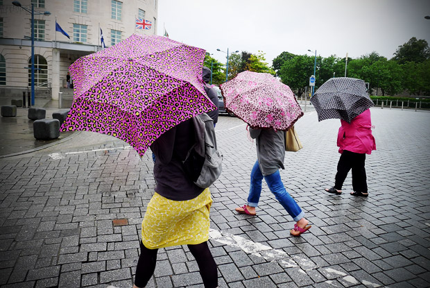 A particularly rainy August Bank Holiday Monday in Cardiff - umbrellas