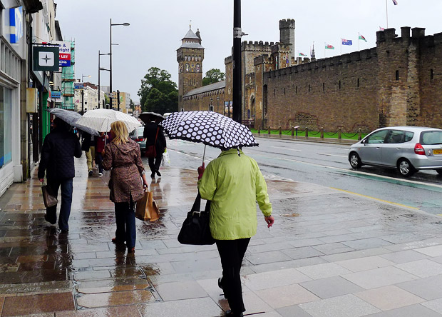 A particularly rainy August Bank Holiday Monday in Cardiff, by Cardiff Castle