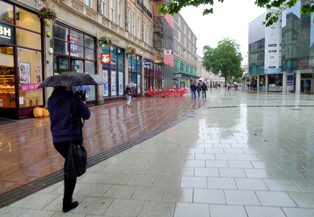 A particularly rainy August Bank Holiday Monday in Cardiff