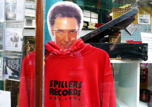 Tom Jones seen in Spillers records, Cardiff