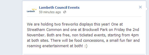 Nov 2nd: Brockwell Park Bonfire Night fireworks are back!