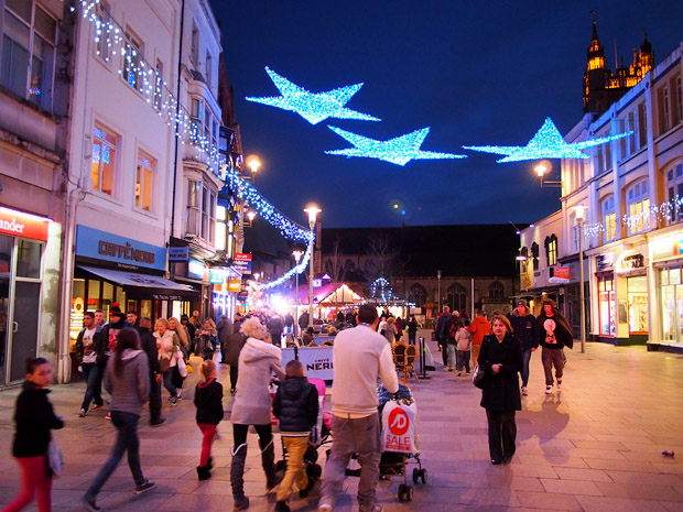 Cardiff Christmas lights - street views around the capital, December, 2012