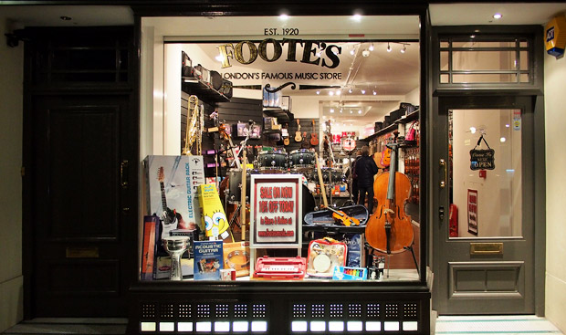 Footes drum and music store reopens in Store Street, central London
