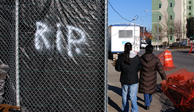 Anti-gentrification graffiti in Williamsburg, New York