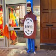 Spotted in Soho, central London. A man-sized Anonymous beer bottle!