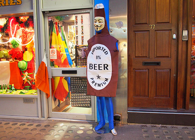The Anonymous beer bottle, Soho, London